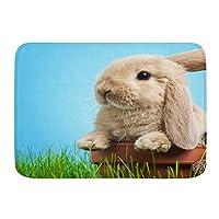 NIESIKKLA バスマット、草の中の赤ちゃんウサギ、マット滑り止め ソフトタッチ 丸洗い 洗濯 台所 脱衣場 キッチン 玄関やわらかマット 45x 75cm