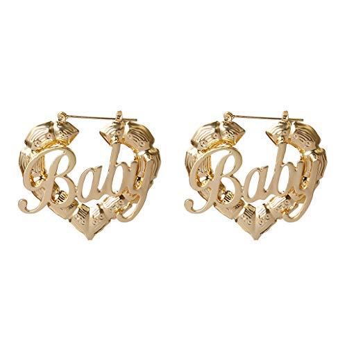 Abcidubxc Ethnischer Stil Geometrische Creolen Ohrringe Gold Silber Baby Brief Liebe Bambus Ohrringe