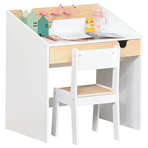 HOMCOM 2-tlg. Kindersitzgruppe mit Kindertisch Stuhl für 6-10 Jahre Kindermöbel MDF Weiß+Natur 70...