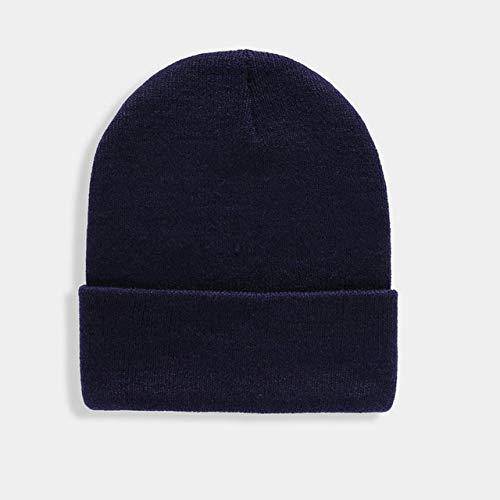 Gorro Unisex sólido Otoño Invierno Mezclas Gorra de Punto Suave y cálida Hombres Mujeres Sombreros Skullcap Gorras de esquí Gorro Gorros de 24 Colores-Navy Blue