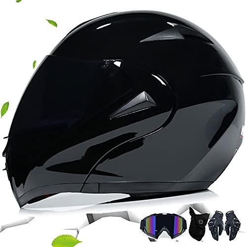 GDSAIL Casco Integral De Motocicleta(Regalos: Guantes, Protectores faciales, Gafas) De Anti Niebla Doble Visera Modular Cascos Modulares para Hombre De Motocicleta Aprobado ECE/Dot