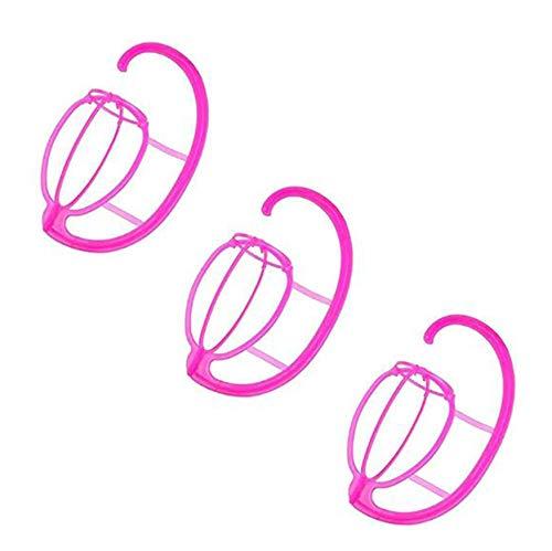 SNOWINSPRING 3 Pièces Séries Porte-Perruque, Porte-Perruque Pliable, Support de Support pour Sèche-Perruque Portable Support de Présentoir de Perruque Pliable Outil-Rose Rouge