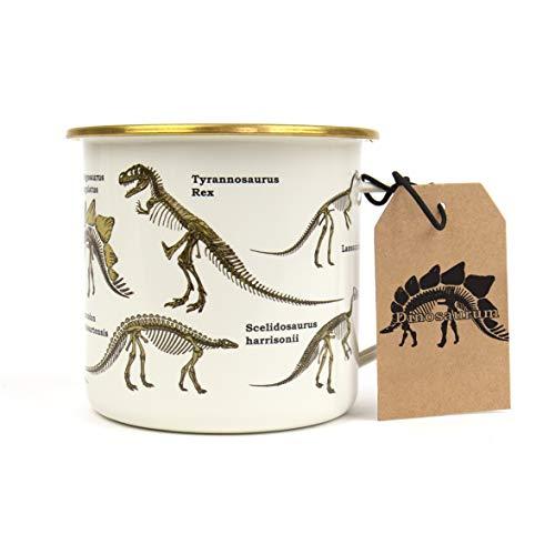 Gift Republic Dinosaurier-Emaille-Tasse, mehrfarbig