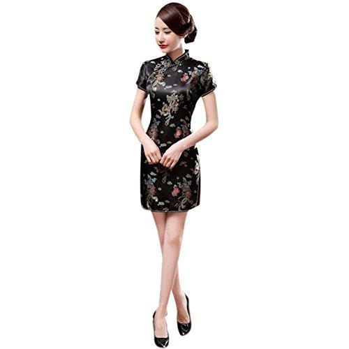 Hzjundasi Chino Tradicional Mujer Retro Floral Impreso Mangas Cortas Cheongsam Brocado Qipao Vestido de Noche M