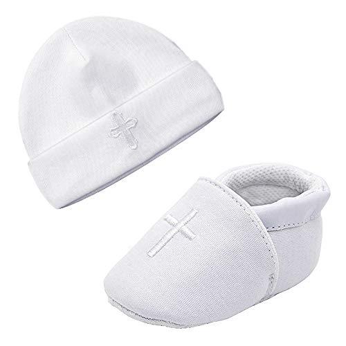 LACOFIA Neugeborene Taufe Schuhe Baby Jungen Weiche Sohle rutschfest Hausschuhe und Bestickter Weiß Beanie Hut Set Pack 2 0-3 Monate