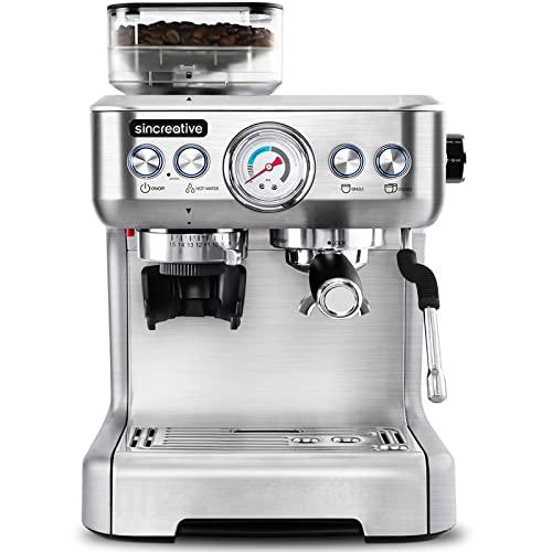 Espresso Machine with Grinder & Steam Wand, 20 Bar Semi...