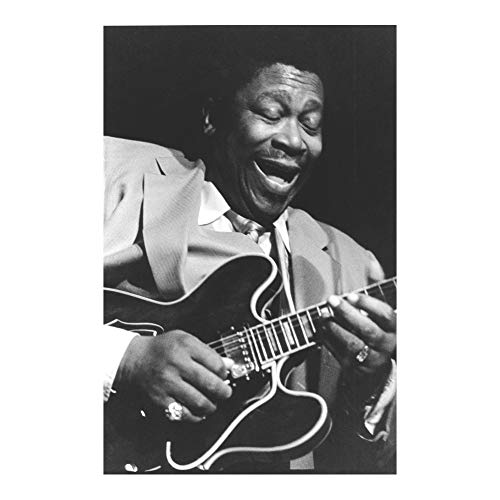 Generic Smiling BB King Guitar Solo Music Black White Wall 24x36 Inches Decor Art Print Photo Paper Material Unframed