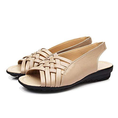 Female Fashion Slippers, Casual Ronde Kop Schoenen Open-Toe Vlakke Bodem Sandalen Light Cushioning Non Slip,Beige,35EU