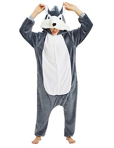 Unisex Erwachsene Tieroutfit Pyjamas Faschingskostüm Damen Schlafanzug Cosplay Kostüme Jumpsuit Tierkostüme Halloween Karneval Kostüme Pyjama-Party (L: für Höhe 168-177, Wolf grau)