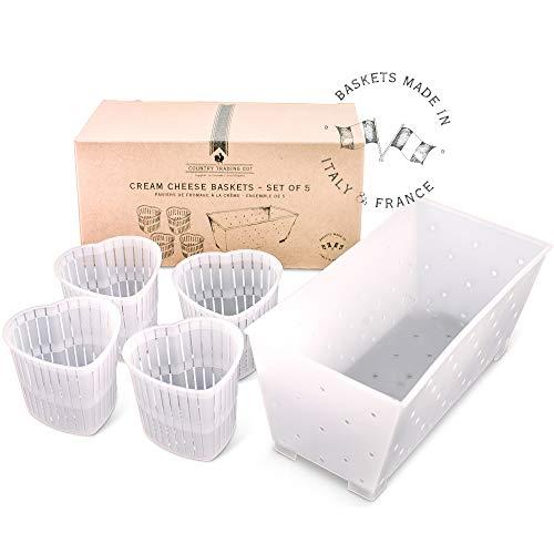 Creme-Käseformen – Set mit 5 Körben zur Herstellung von Weichkäse und veganem Käse