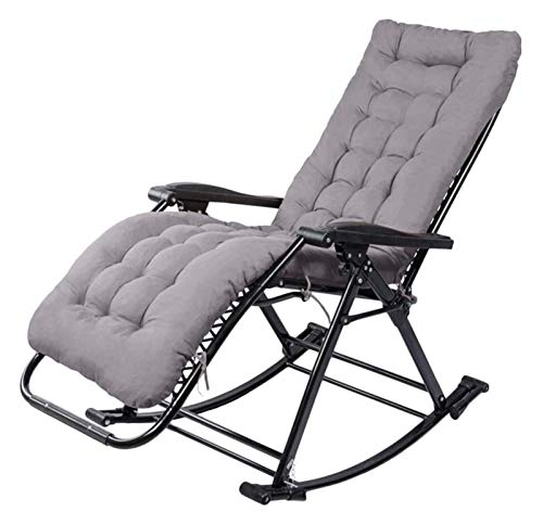 MTCWD Rocking Chair Ith Cushions Zero Gravity Chaise Lounges Patio Lounger Chair Outdoor Office Beach Folding Portable Recliner (Color : Gray)
