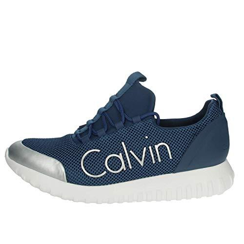 Calvin Klein Jeans Ron Mesh/Brushed Metal, Zapatillas para Hombre, Azul (Sus 000), 44 EU