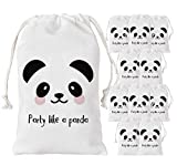 Panda Party Favor Bags 12 Pack - Gift Goodie Candy Treat Bags for Party Like a Panda Decorations, Baby Shower, Birthday Party Supplies