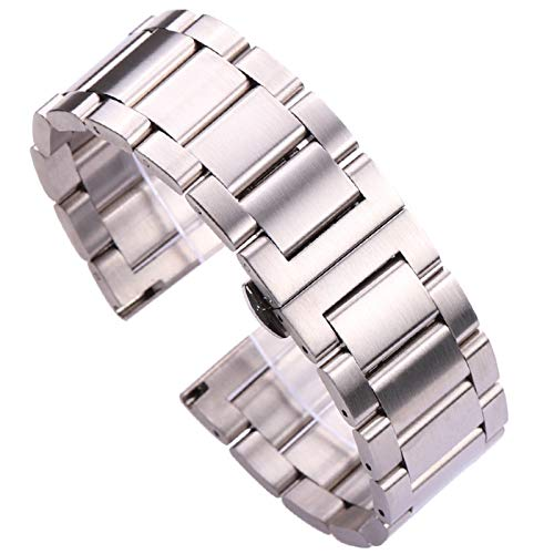 ZZDH Correas Relojes Acero Inoxidable Pulsera de Reloj de Acero Inoxidable 18 20 21 22 23 24mm Azul Plata Metal Reloj de Metal Correa Pliegue Despliegue Cierre de despliegue
