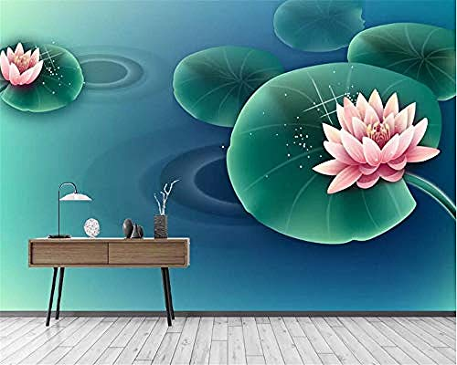XHXI Lotus Leaf Lotus Home Decor for Living Room Sofa Tv Background Bedroom Wall Decoration 3D Wallpaper Paste Living Room The Wall for Bedroom Mural border-430cm×300cm