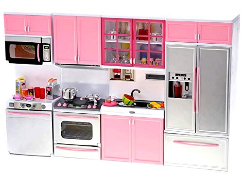 PowerTRC Kids Battery Operated Modern Kitchen Playset Great for Dolls and Toy Figures