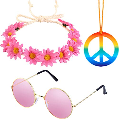 3 Pieces Hippie Accessory Set includes Rainbow Peace Sign Necklace, Flower Crown Headband, Hippie Sunglasses for Women Men