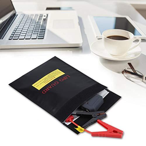 Bolsas livianas para Documentos Resistentes al Fuego Protección para pasaportes por Dinero en Efectivo Nuevo(Black, Large)