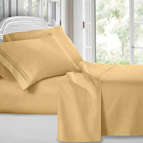 Clara Clark Premier 1800 Collection Juego de sábanas, 4 piezas, tamaño King, dorado camello