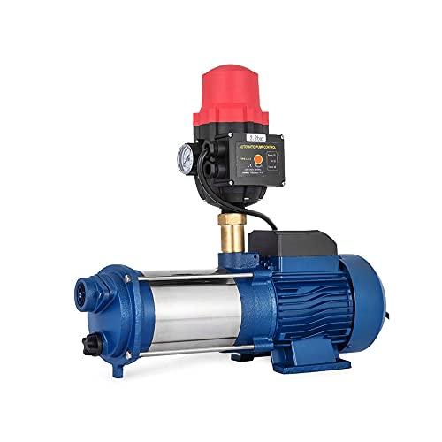 LHK 1,5 HP Bomba de riego de jardín de Pozo Poco Profundo, Bombas de Agua eléctrica, Bomba de riego de Drenaje de Drenaje de Agua de Acero Inoxidable con Interruptor de presión, para césped doméstico