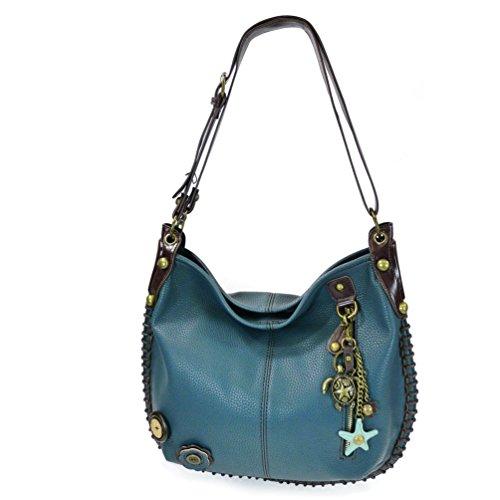 CHALA Crossbody Handbag, Hobo Style, Casual, Soft, Large Bag Shoulder or Crossbody - Navy (Metal Turtle)