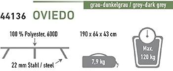 High Peak Oviedo Lit de Camp Pliante Gris Clair/Gris Foncé 190 x 64 x 43 cm