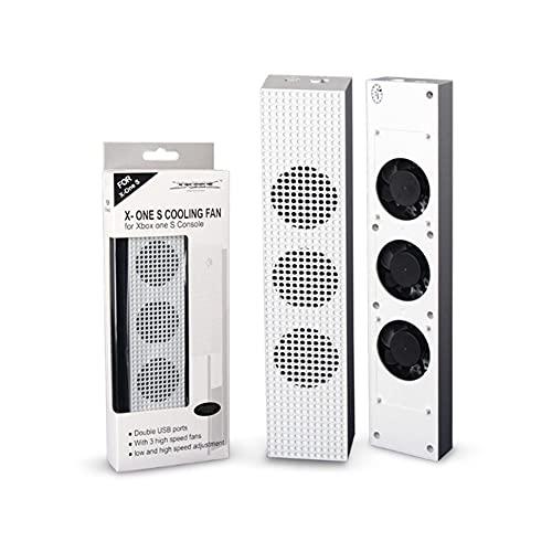 Ventilador de refrigeración para Xbox One S con 2 puertos USB Hub y 3 H/L de ajuste de velocidad Ventiladores enfriador para Xbox One Slim Gaming Console