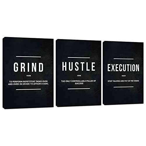 """Motivational Office Wall Decor Inspirational Success Canvas Wall Art Hustle Posters Prints Entrepreneur Quote Wall Picture Paintings 3 Pieces Artwork Home Bedroom Framed Easy to Hang(36""""Wx16""""H)"""