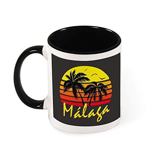 IUBBKI Malaga Vintage Sun Taza de café de cerámica para té, regalo para mujeres, niñas, esposa, mamá, abuela, 11 oz