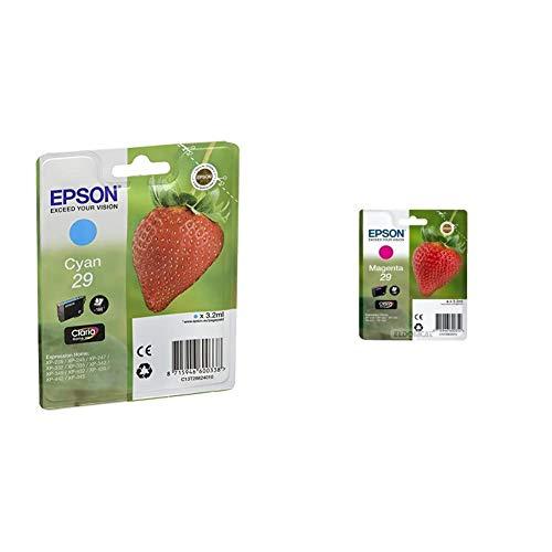 Epson Claria Home 29 - Cartucho de tinta estándar de 3,2 ml, paquete estándar, color cian válido + C13T29834022 - Cartucho de tinta, standard, color magenta