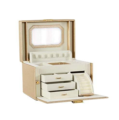 SMSOM Caja de joyería Enorme/Organizador/Case Faux de Cuero, Moda Exquisita joyería, Regalo para niñas o Mujeres (GLOD) (Color : Gold)