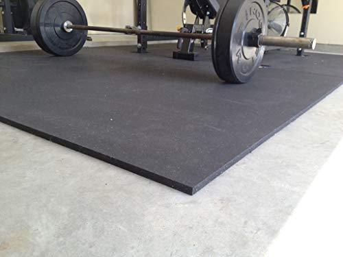 2 x Heavy Duty 12mm Solid Black Rubber Gym Mat | 6ft x 4ft Each