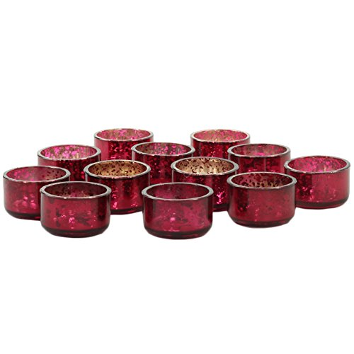 Koyal Wholesale Antique Tealight Candle Holders, 12-Pack Petite Glass Tealight Cup, Wedding Candle Holders (Burgundy (Deep Red))