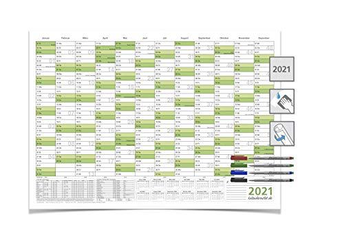 Mega XXXL Wandkalender 2021, DIN B0 140,0 X 100,0 cm mit Ferienangaben abwischbar grün inkl. 4-er non-permanent Marker