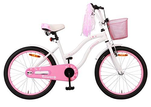 Amigo Flower - Kinderfahrrad für Mädchen - 20 Zoll - mit Handbremse, Rücktritt, Korb, fahrradständer und Beleuchtung - ab 5-8 Jahre - Weiß