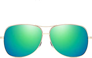 Fashion Gold Frame Green/Pink/Purple Lens Men and Women with The Same Polarized Driving Sunglasses Fashion Wild New Metal Material Colorful Sunglasses Retro (Color : Green)