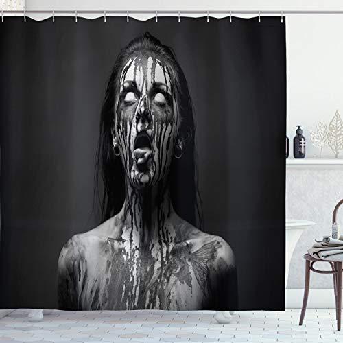 ABAKUHAUS Zombie Duschvorhang, Schreien Frau, Klare Farben aus Stoff inkl.12 Haken Farbfest Schimmel und Wasser Resistent, 175 x 200 cm, Schwarz und Weiß