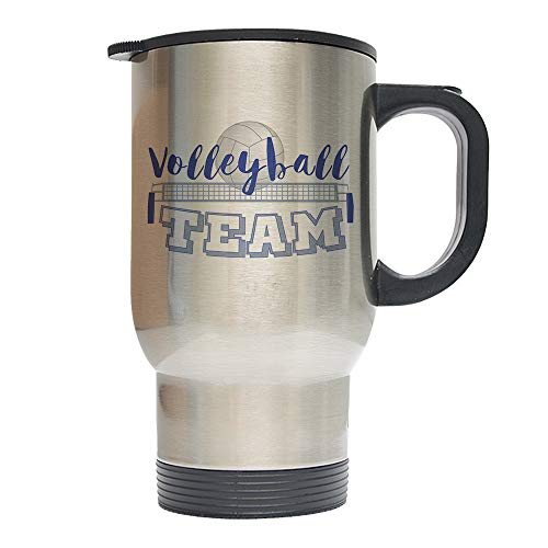 Mystic Sloth Sports Family 14oz Stainless Steel Travel Coffee Mugs - Silver (Volleyball, Team)