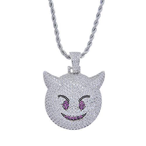 Moca Schmuck Iced Out Little Devil Emoji Anhänger 18 Karat Vergoldet Bling CZ Simulierte Diamant Hip Hop Halskette für Männer Frauen (silver)