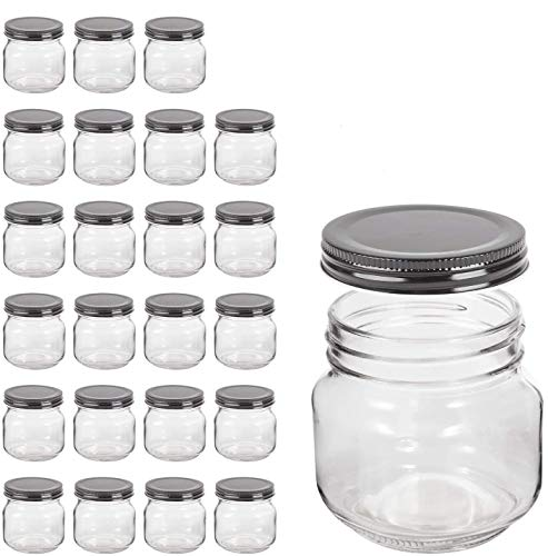 QAPPDA Mason JarsGlass Jars With Lids 8 ozCanning Jars For Pickles And Kitchen StorageWide Mouth Spice Jars With Black Lids For HoneyCaviarHerbJellyJamsSet of 24…