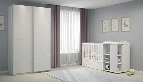Komplettes Kinderzimmer-Set: Mitwachsendes Kombi-Kinderbett/Babybett mit Wickelkommode (Liegefläche 120x60cm bis 200x90cm) und Kleiderschrank mit Schwebetüren