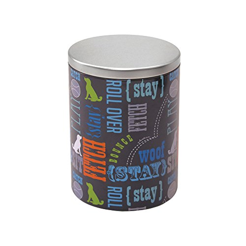 %30 OFF! Paw Prints Large Tin Treat Jar, Wordplay Design, 5.25 x 7.5 x 5.25 Inches (37395)