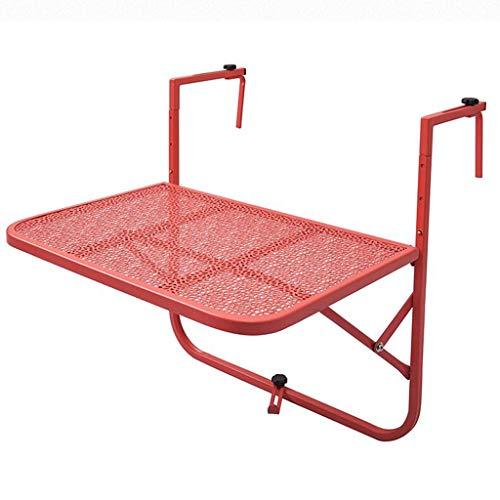 Table De Pique-Nique Pliante Balcon Suspendu Garde-Corps en Fer Forgé Suspendu Pliante Quatre Couleurs en Option Shcro (Color : Red)