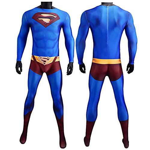 NVHAIM Traje de Cosplay de Adultos superhéroes (Azul), Superman Acero Corporal cos Tiro alitero Padre-niño Rendimiento Ropa Mono Mono Estilo 3D Superman devuelve cos Pala,Women L