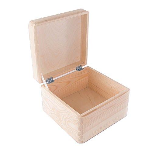 Petite boîte de rangement avec couvercle en bois carré/coffre en bois sans Poignées/stockage de mémoire/souvenir Coffre