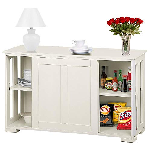 go2buy Antique White Stackable Sideboard Buffet Storage Cabinet with Sliding Door Kitchen Dining...