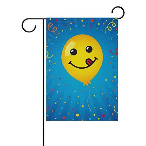 Axige888 Glimlach van Geel Ballon Seizoen Vakantie Tuinwerf Huis Vlag Banner 12 x 18 inches Decoratieve Vlag voor Huis Indoor Outdoor Decor