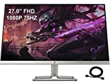 2021 Premium HP 27 75Hz 27' Widescreen IPS LED FHD 1080P Anti-Glare Monitor for Business and Student, 5 ms Response Time, FreeSync, HDMI VGA, 178°, AllyFlex HDMI Cable