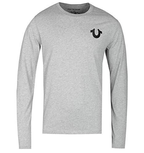 True Religion Long Sleeve Horseshoe Logo Heather Grey T-Shirt - Small