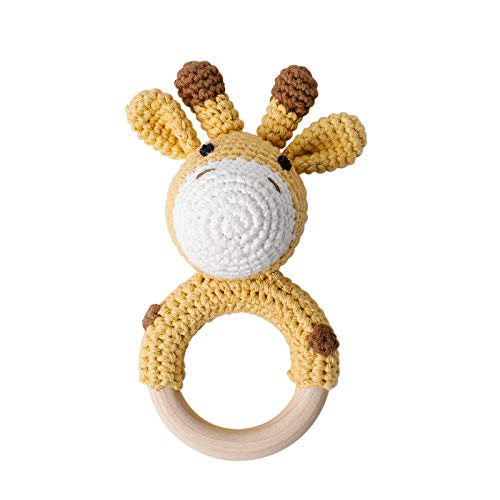 Mamimami Home Knit Sonajero para bebé mordedor de madera, juguete para la dentición del bebé, juguete para masticar de madera, estilo Montessori, anillo de mordedor para animales de ganchillo
